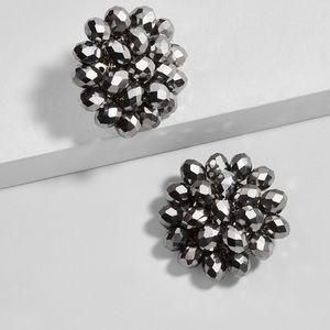 BaubleBar Carnation Stud Metallic Silver Earrings